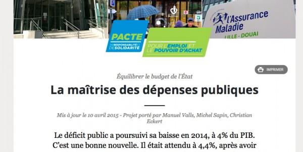 """Site """"Gouvernement.fr"""" (page liée à l'article 2 du portail) 12 avril 2015"""