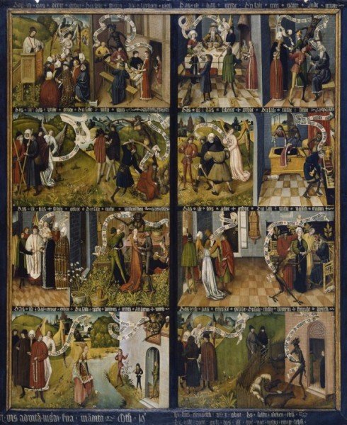Anonyme, Polyptyque allemand du XV ème siècle, Tempera sur panneau de bois (225 cm x 273 cm). Eglise de Gdansk (Au musée des Beaux Arts de Varsovie jusqu'en 1992) �8 cases sur les 10 ...